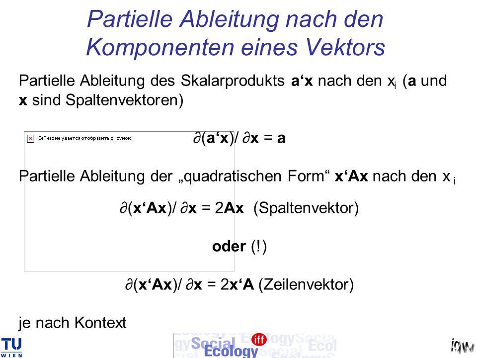 Partielle Ableitung nach den Komponenten eines Vektors