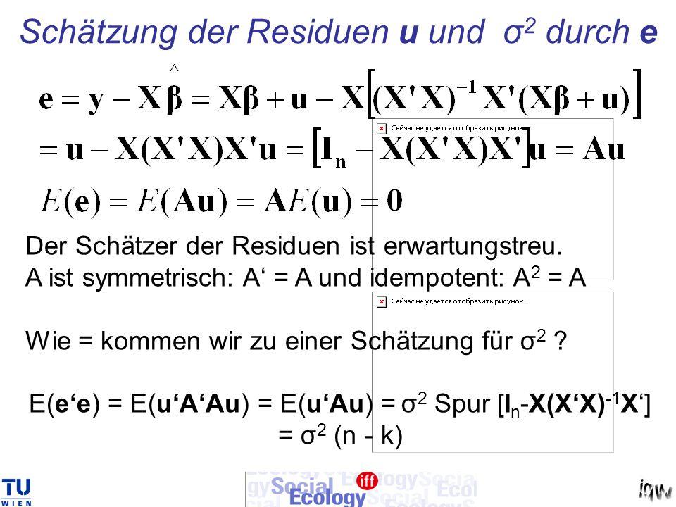 Schätzung der Residuen u und σ2 durch e