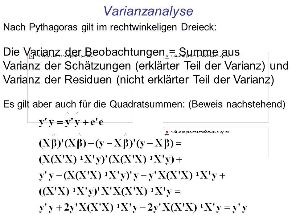 Varianzanalyse Die Varianz der Beobachtungen = Summe aus