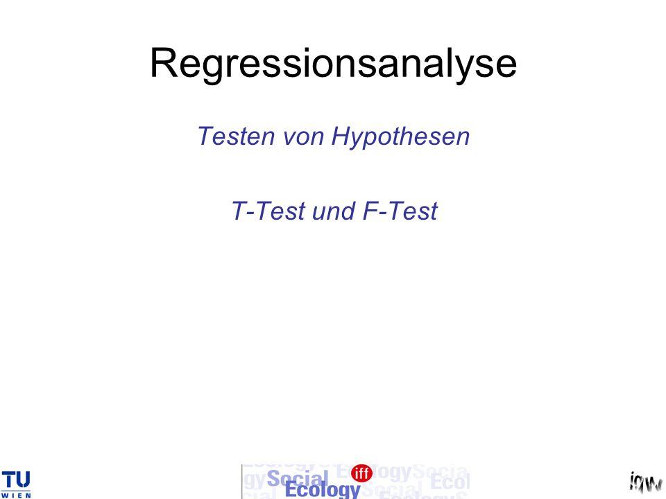 Regressionsanalyse Testen von Hypothesen T-Test und F-Test