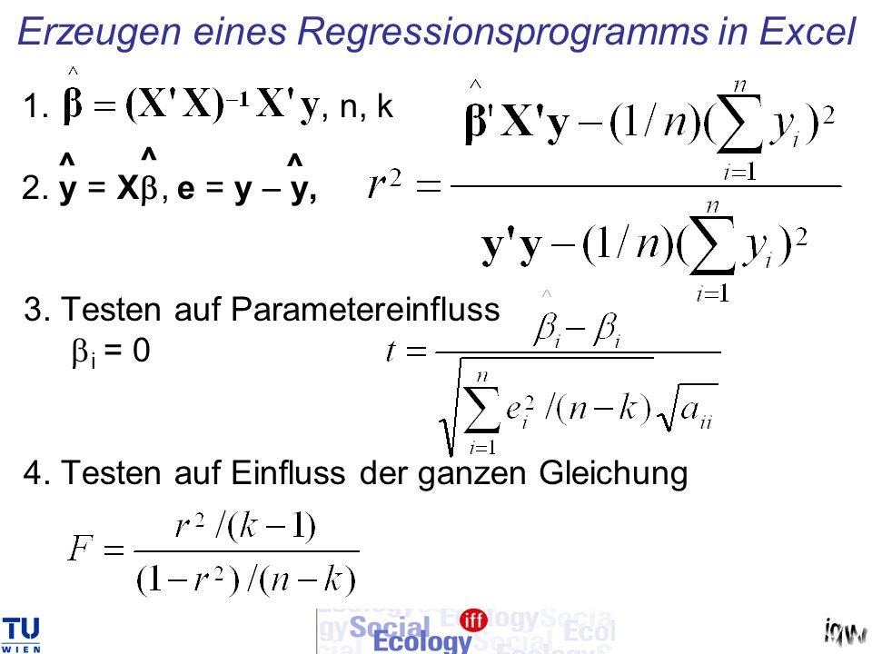 Erzeugen eines Regressionsprogramms in Excel