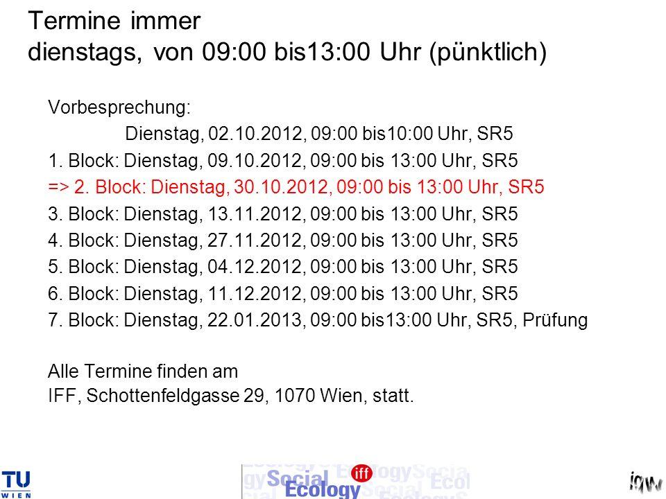 Termine immer dienstags, von 09:00 bis13:00 Uhr (pünktlich)