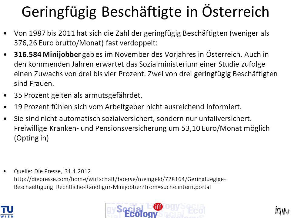 Geringfügig Beschäftigte in Österreich
