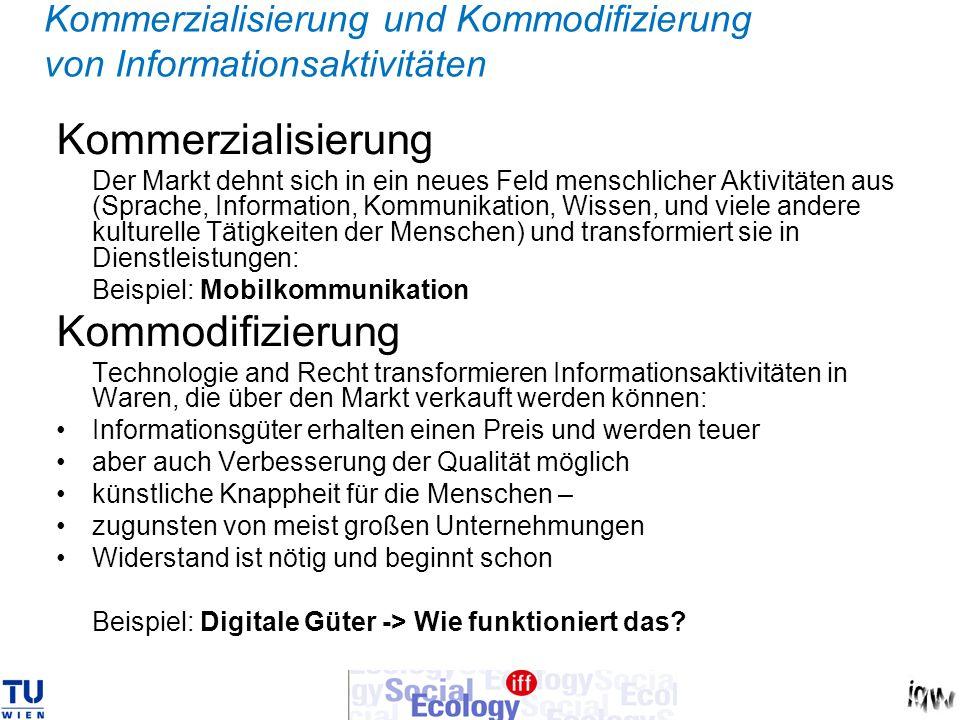 Kommerzialisierung und Kommodifizierung von Informationsaktivitäten