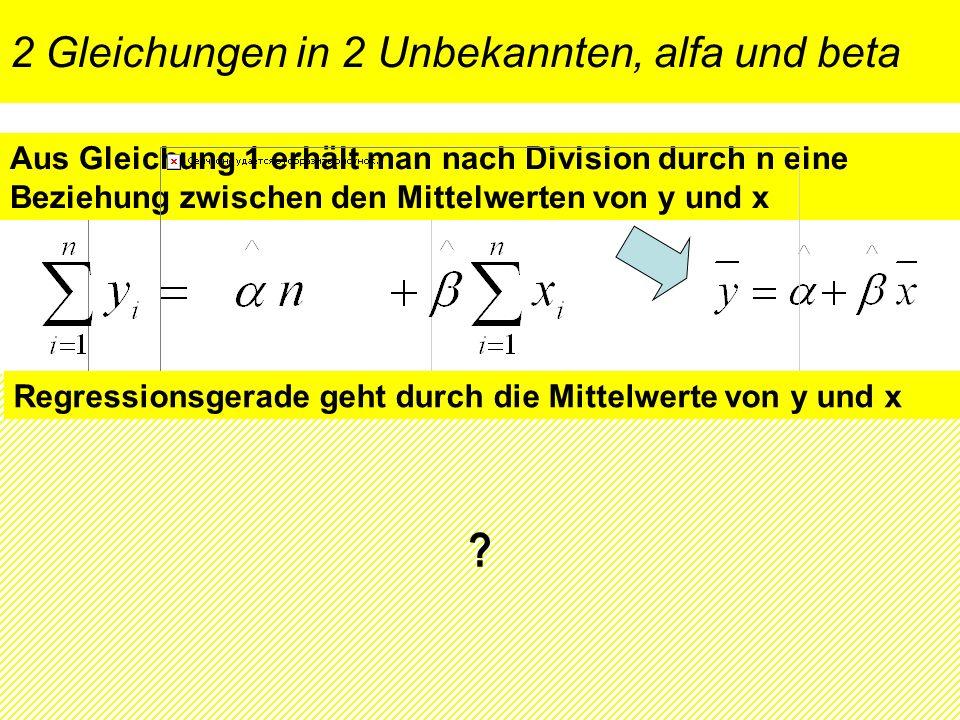 2 Gleichungen in 2 Unbekannten, alfa und beta