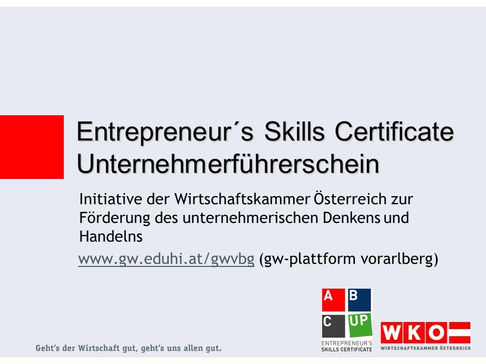 Entrepreneur´s Skills Certificate Unternehmerführerschein