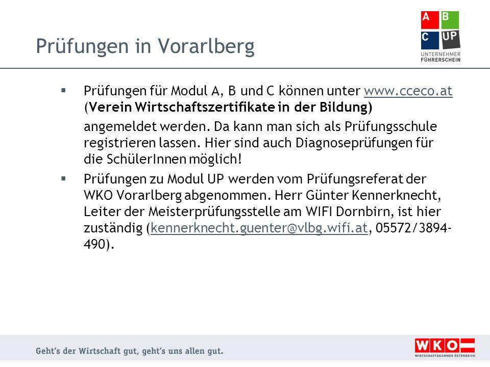 Prüfungen in Vorarlberg