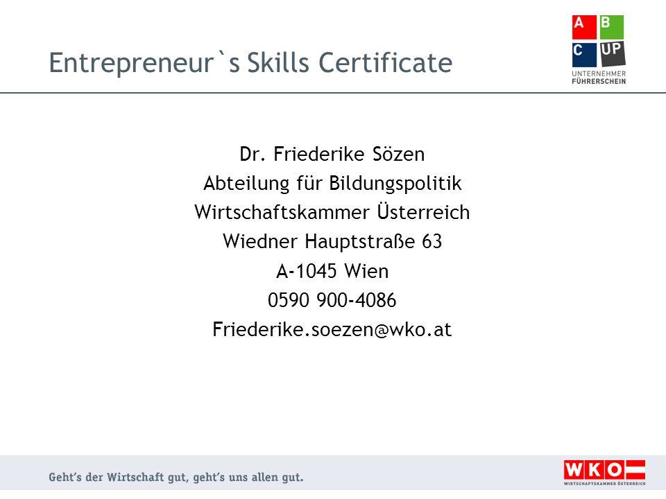 Entrepreneur`s Skills Certificate