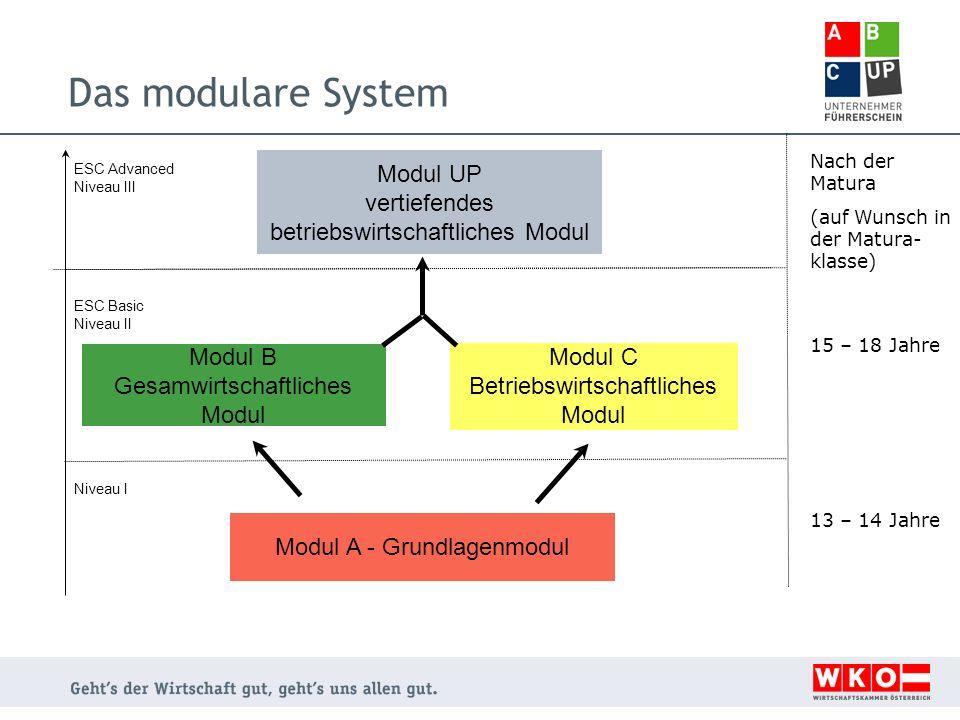 Das modulare System Nach der Matura. (auf Wunsch in der Matura- klasse) Modul UP vertiefendes betriebswirtschaftliches Modul.
