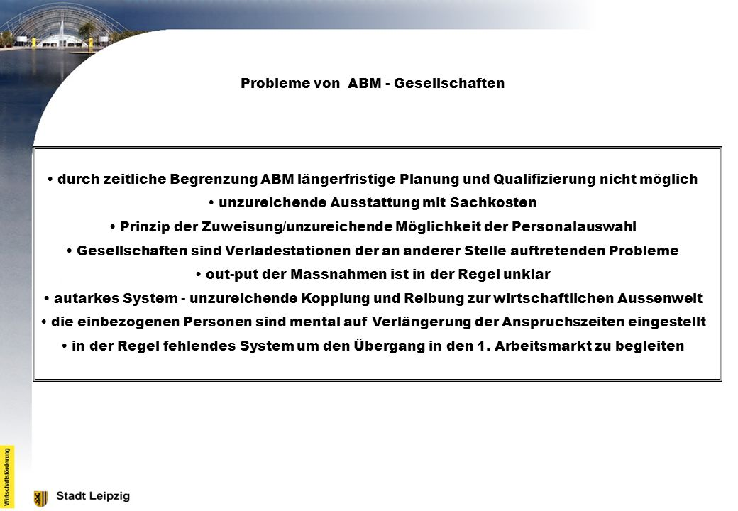 Probleme von ABM - Gesellschaften