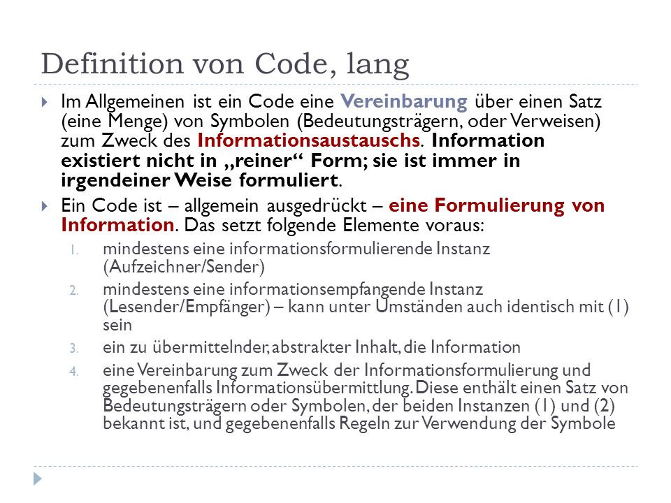 Definition von Code, lang