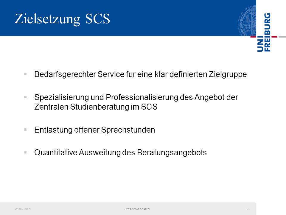 Zielsetzung SCS Bedarfsgerechter Service für eine klar definierten Zielgruppe.
