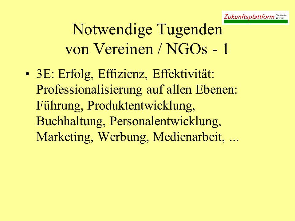 Notwendige Tugenden von Vereinen / NGOs - 1