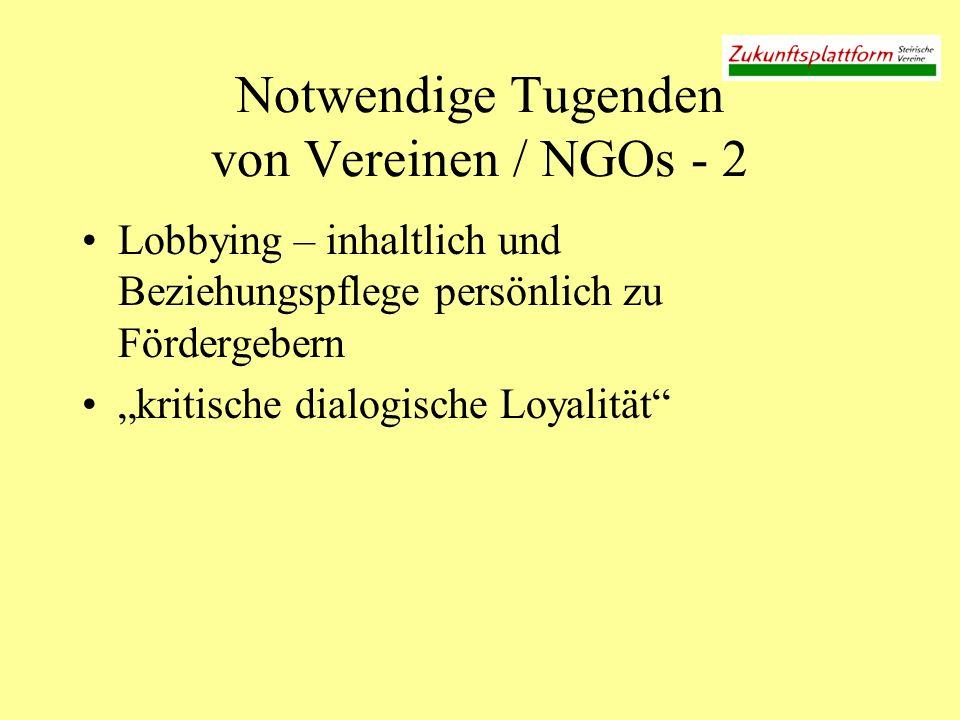Notwendige Tugenden von Vereinen / NGOs - 2