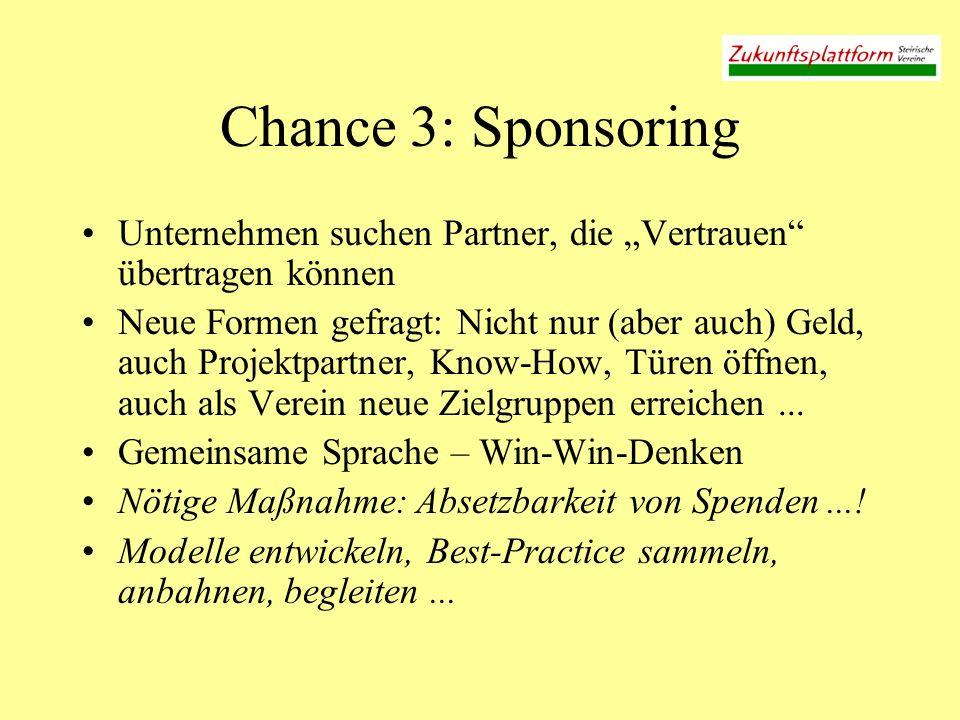 """Chance 3: Sponsoring Unternehmen suchen Partner, die """"Vertrauen übertragen können."""
