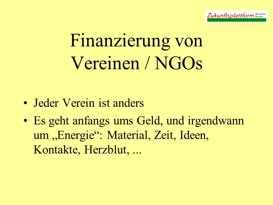Finanzierung von Vereinen / NGOs