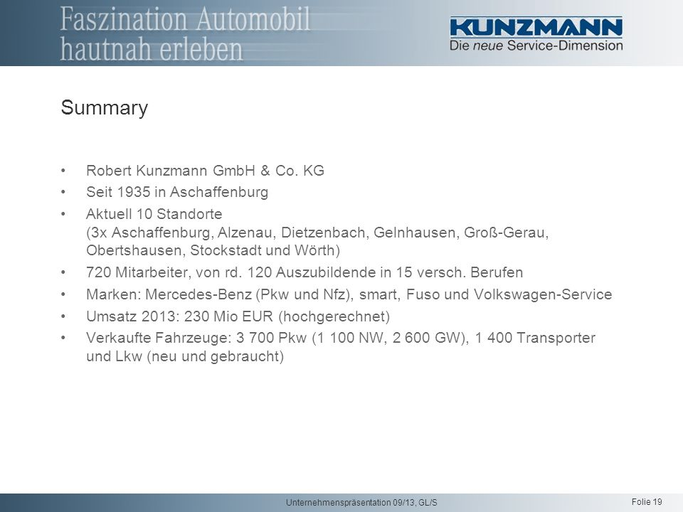 Summary Robert Kunzmann GmbH & Co. KG Seit 1935 in Aschaffenburg