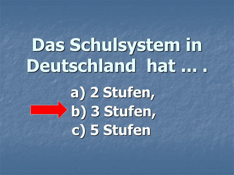 Das Schulsystem in Deutschland hat ... .