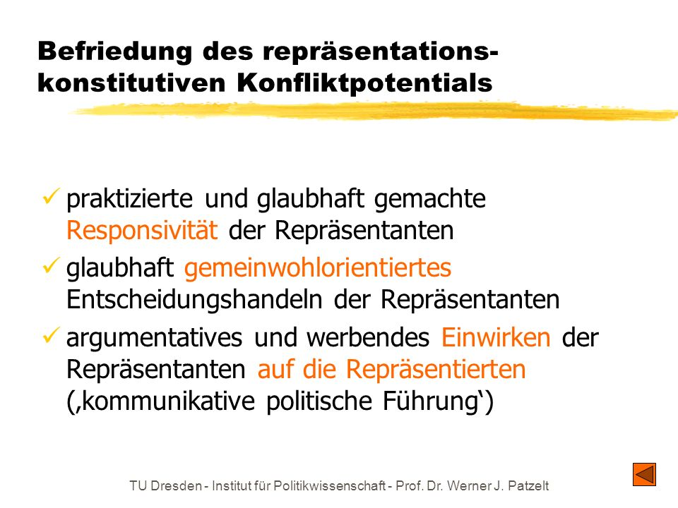 Befriedung des repräsentations-konstitutiven Konfliktpotentials