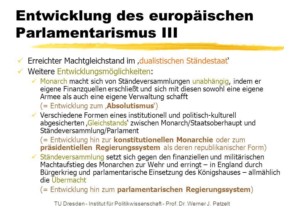 Entwicklung des europäischen Parlamentarismus III