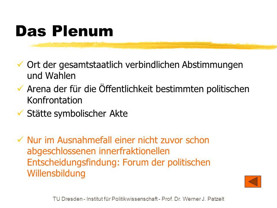 Das Plenum Ort der gesamtstaatlich verbindlichen Abstimmungen und Wahlen. Arena der für die Öffentlichkeit bestimmten politischen Konfrontation.