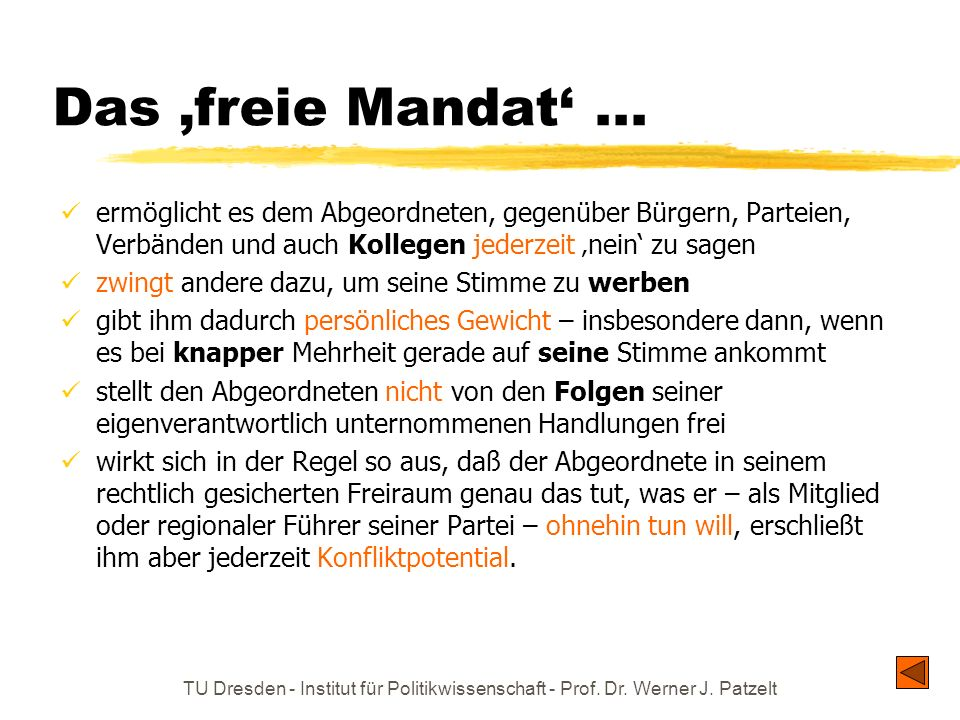 Das 'freie Mandat' ... ermöglicht es dem Abgeordneten, gegenüber Bürgern, Parteien, Verbänden und auch Kollegen jederzeit 'nein' zu sagen.