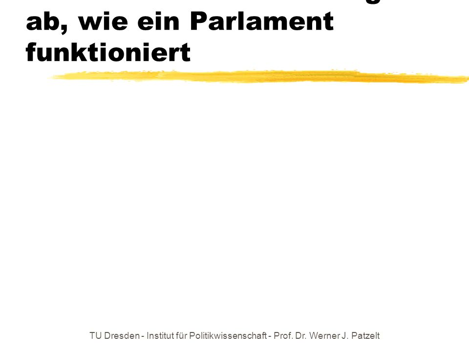 Letzte Folie: Wovon hängt ab, wie ein Parlament funktioniert
