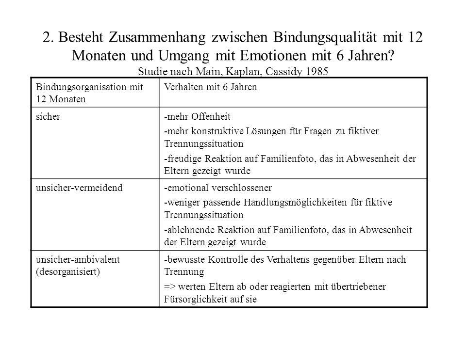 2. Besteht Zusammenhang zwischen Bindungsqualität mit 12 Monaten und Umgang mit Emotionen mit 6 Jahren Studie nach Main, Kaplan, Cassidy 1985