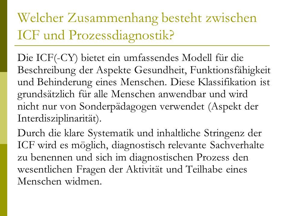 Welcher Zusammenhang besteht zwischen ICF und Prozessdiagnostik