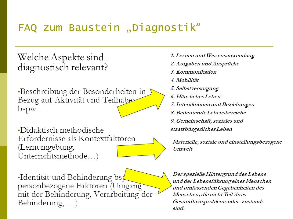 "FAQ zum Baustein ""Diagnostik"