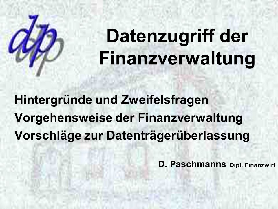 Datenzugriff der Finanzverwaltung