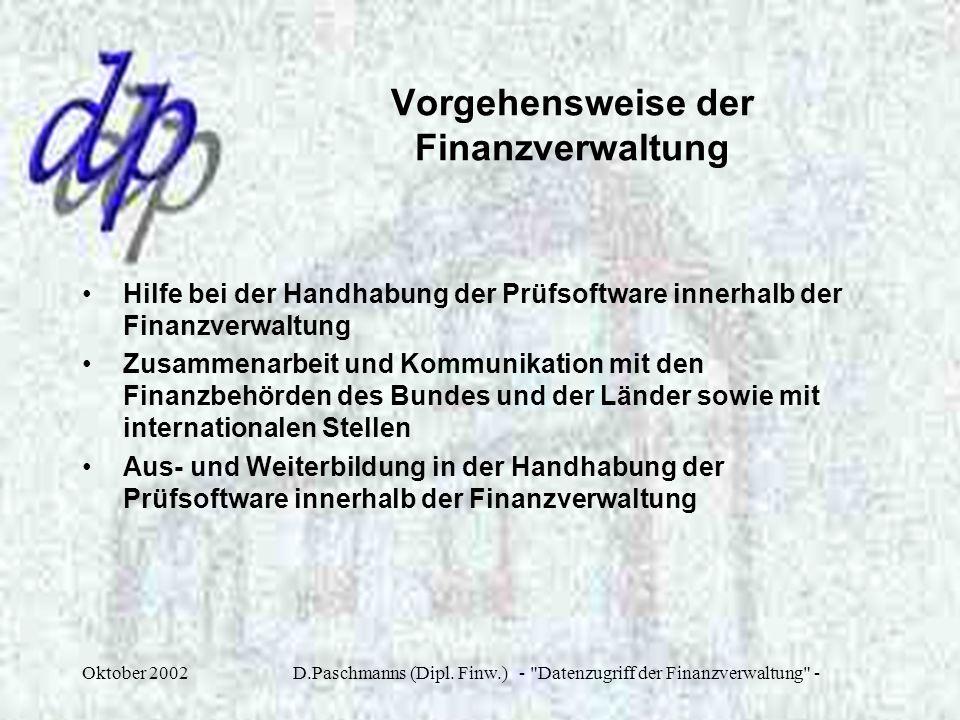 Vorgehensweise der Finanzverwaltung