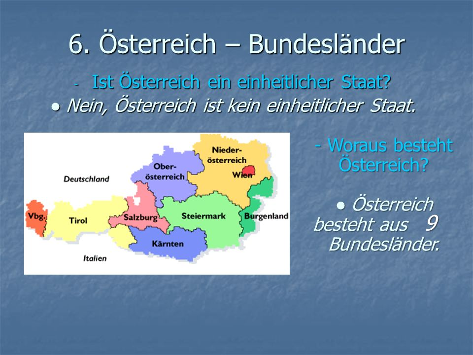 6. Österreich – Bundesländer