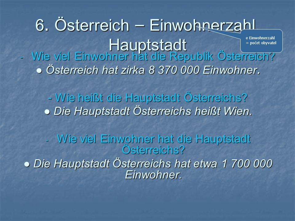 6. Österreich – Einwohnerzahl, Hauptstadt