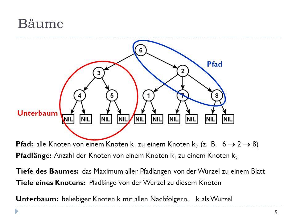 Bäume Pfad. Unterbaum. Pfad: alle Knoten von einem Knoten k1 zu einem Knoten k2 (z. B. 6  2  8)