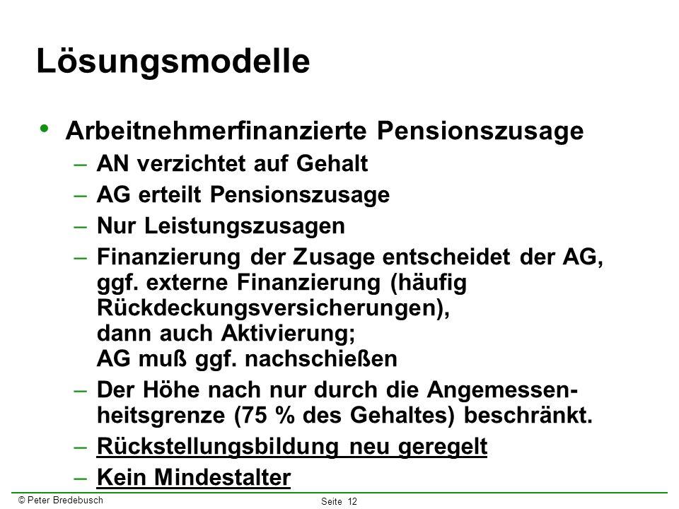 Lösungsmodelle Arbeitnehmerfinanzierte Pensionszusage