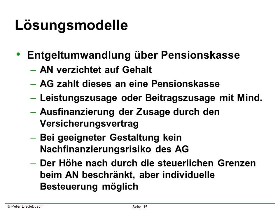 Lösungsmodelle Entgeltumwandlung über Pensionskasse