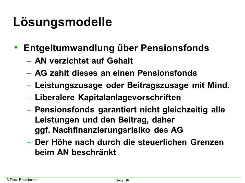Lösungsmodelle Entgeltumwandlung über Pensionsfonds