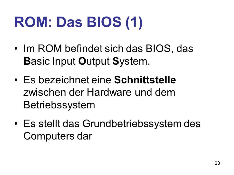ROM: Das BIOS (1) Im ROM befindet sich das BIOS, das Basic Input Output System.
