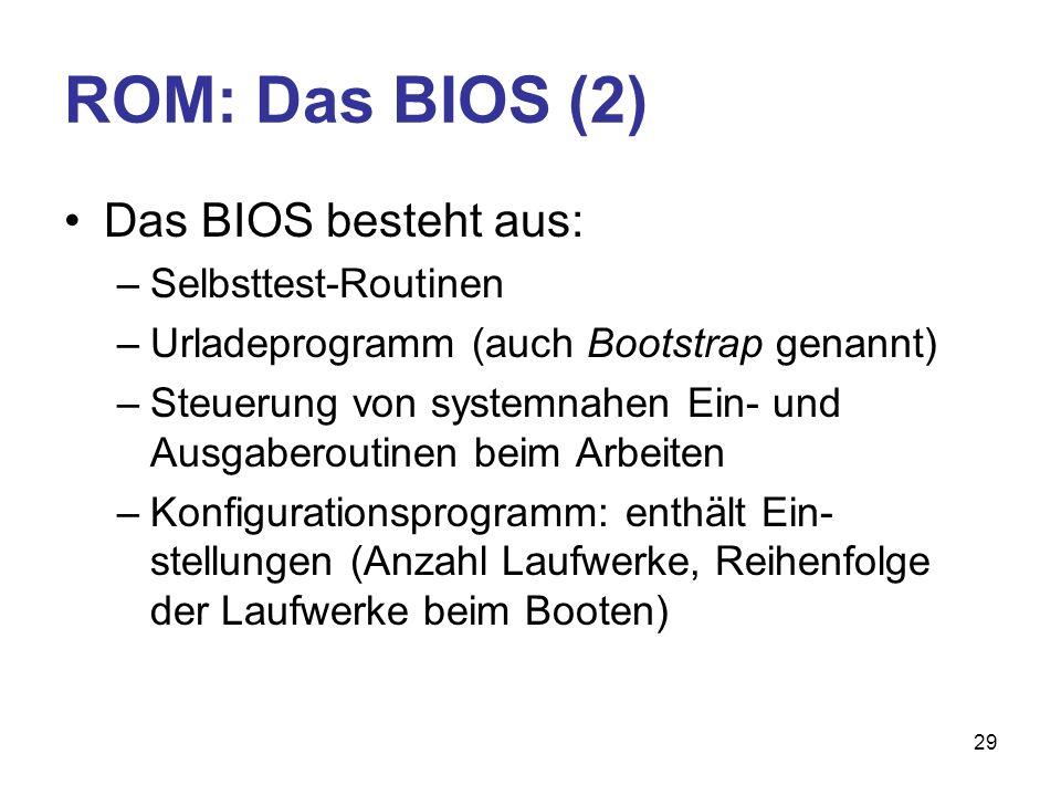 ROM: Das BIOS (2) Das BIOS besteht aus: Selbsttest-Routinen