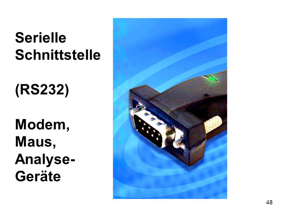 Serielle Schnittstelle (RS232) Modem, Maus, Analyse- Geräte