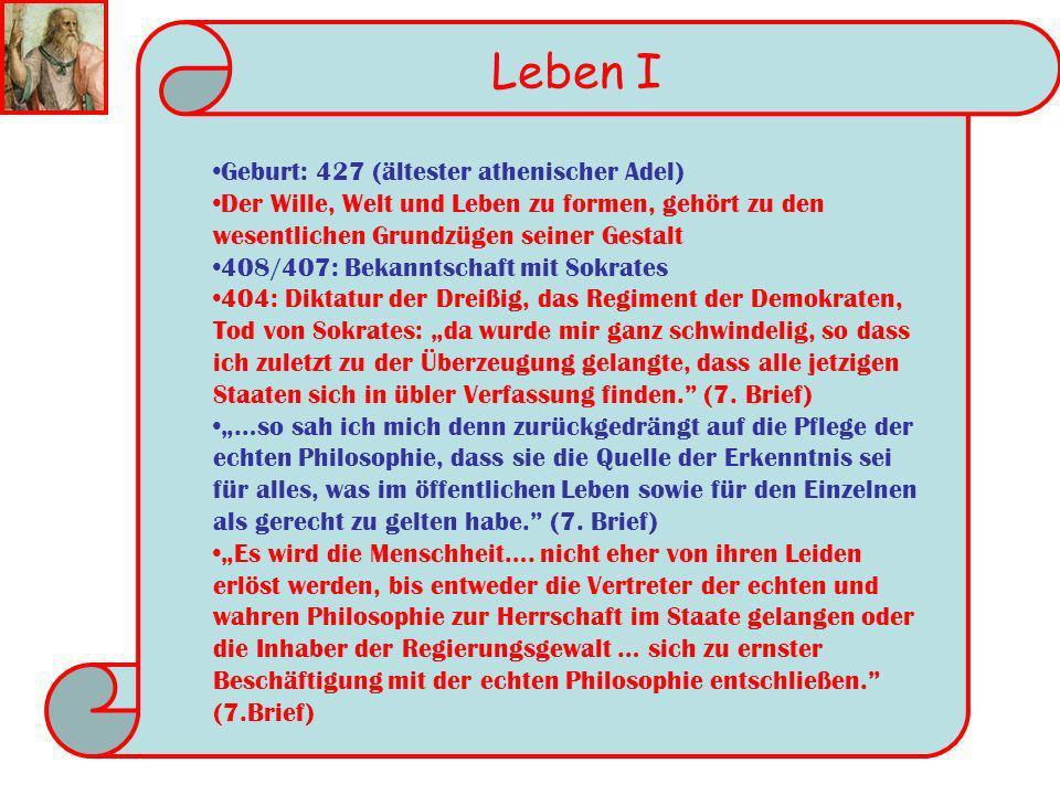 Leben I Geburt: 427 (ältester athenischer Adel)