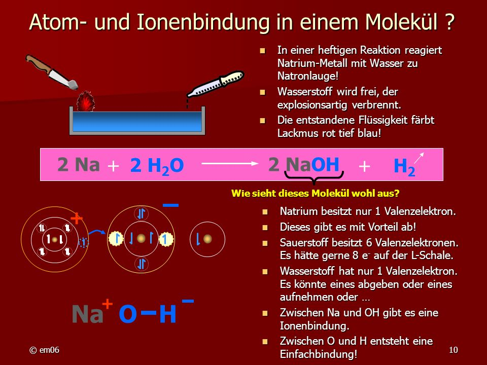 Atom- und Ionenbindung in einem Molekül