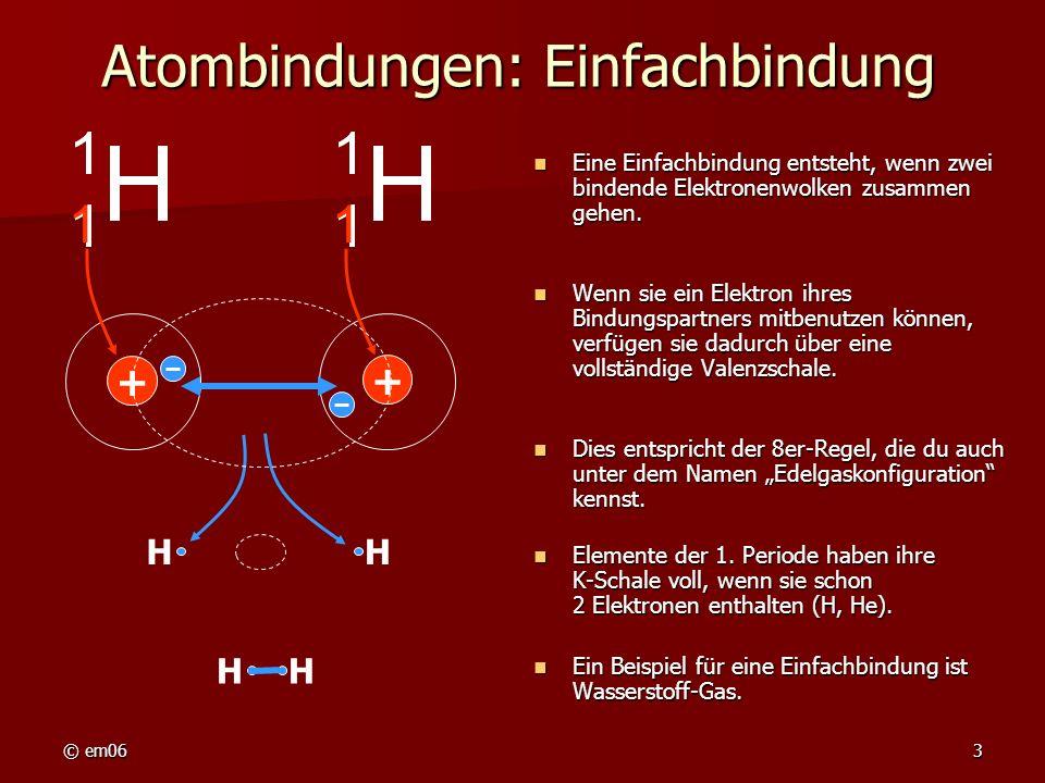 Atombindungen: Einfachbindung