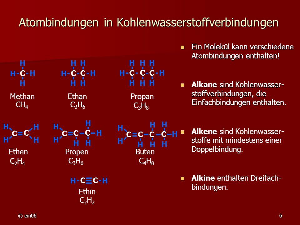 Atombindungen in Kohlenwasserstoffverbindungen