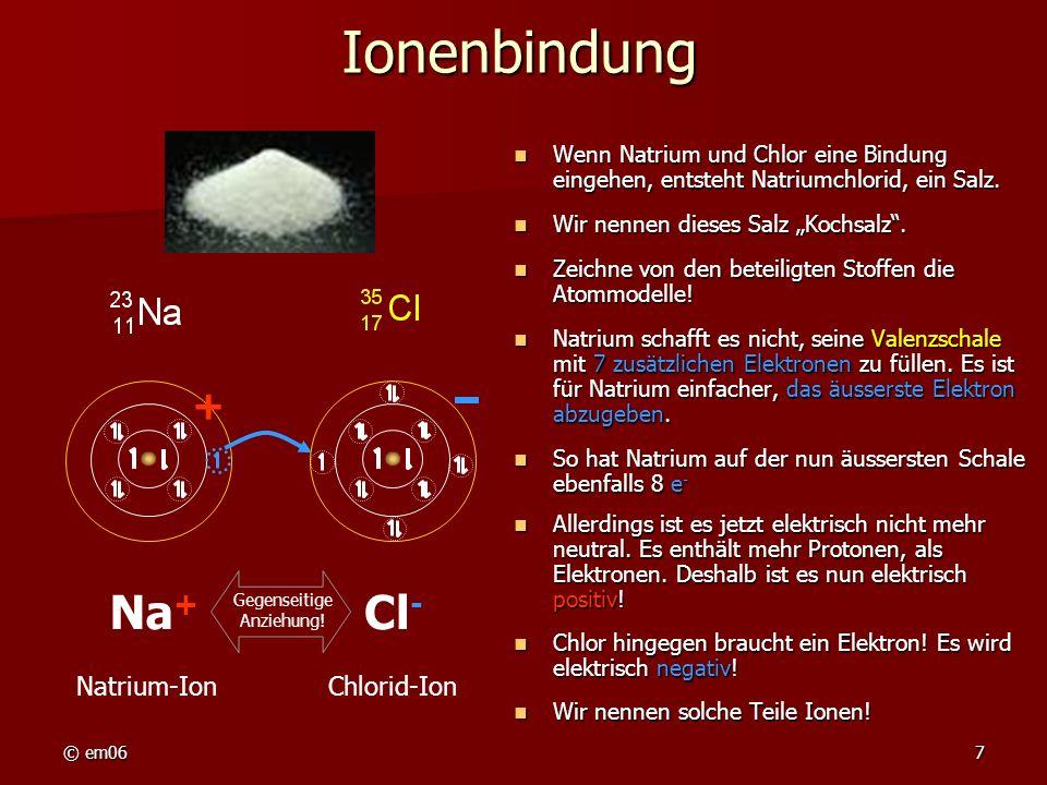 Ionenbindung Na+ Cl- + Natrium-Ion Chlorid-Ion