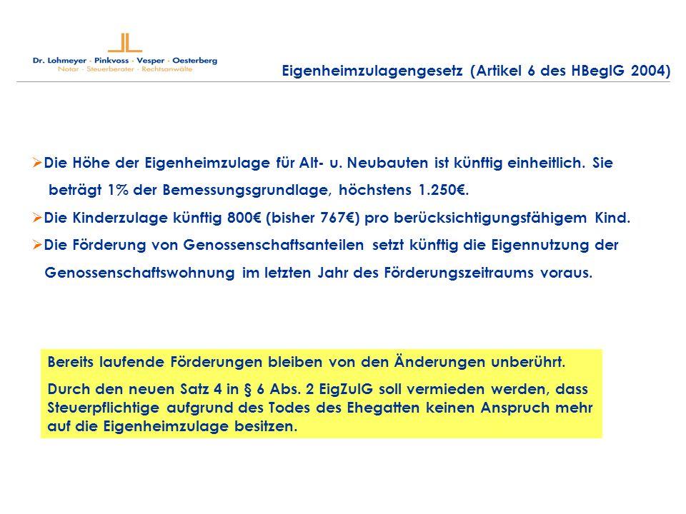 Eigenheimzulagengesetz (Artikel 6 des HBeglG 2004)