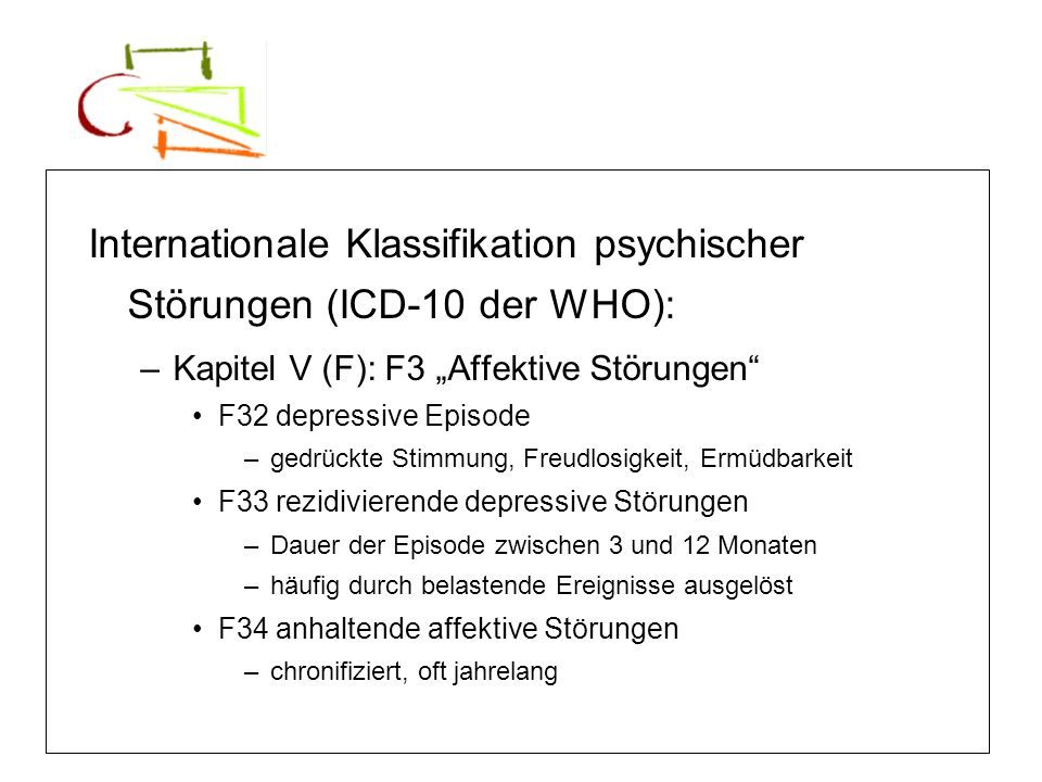 Internationale Klassifikation psychischer Störungen (ICD-10 der WHO):
