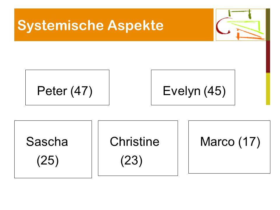 Systemische Aspekte Peter (47) Evelyn (45) Sascha (25) Christine (23)