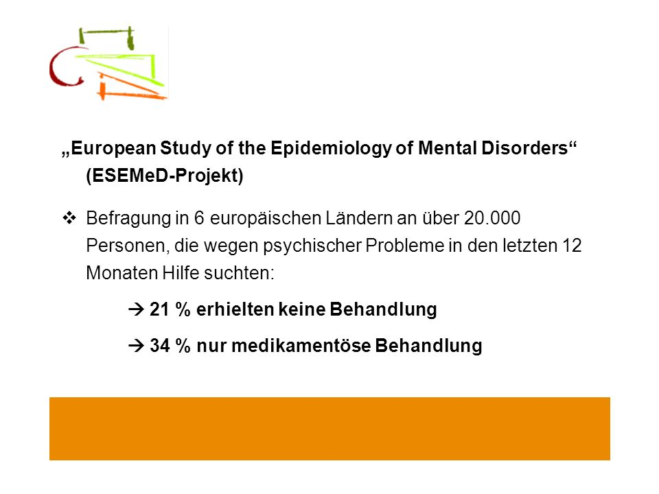 """European Study of the Epidemiology of Mental Disorders (ESEMeD-Projekt)"